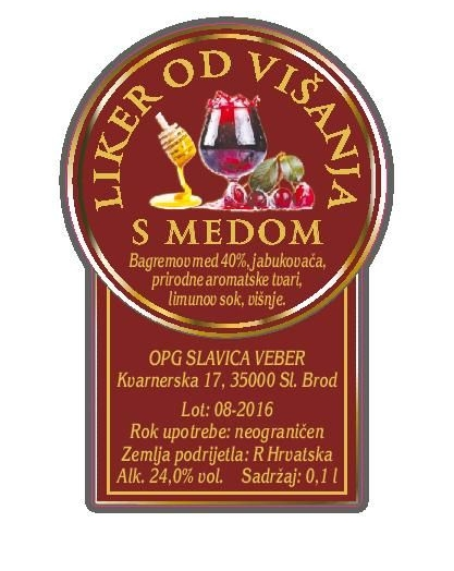 Višnjevac s medom 0,2 l (poklon boca Croatia)